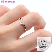 2018 Real 925 Solid Sterling Silver Red Heartbeat Gift For Girls Ring Adjustable