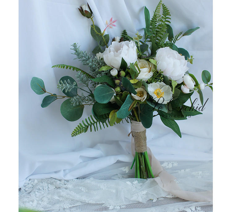 Купить с кэшбэком PEORCHID Summer Wedding Bouquets Peonies Rose Elegant Boho Eucalyptus Bridal Bouquet With Peony Green Bridesmaid Bouquet Flowers