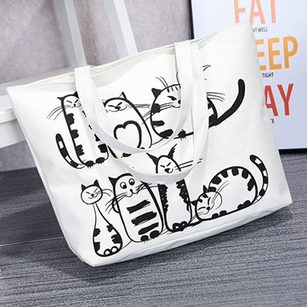 Fashion Lovely Animal Canvas Handbag Cat Zipper Student Pouch Women Shoulder Bag
