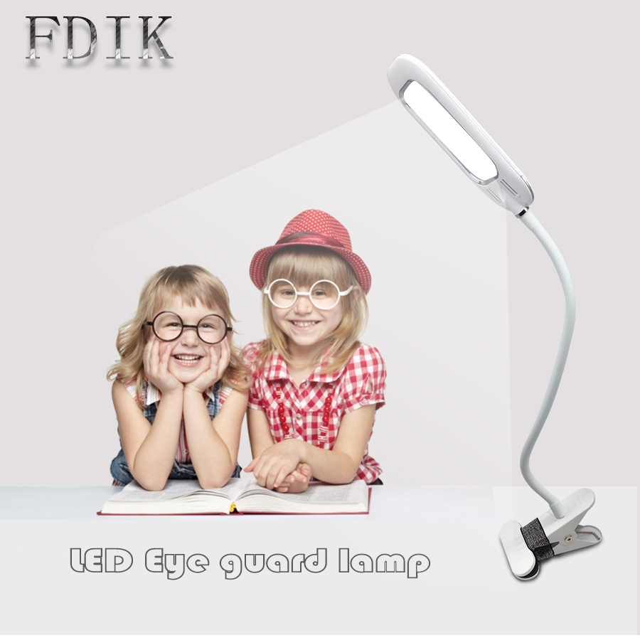 USB Rechargeable Desk Lamp LED reading lamps Eye guard Dimmable Three Colour Switching Bedside lights Touch switch With Clip ...