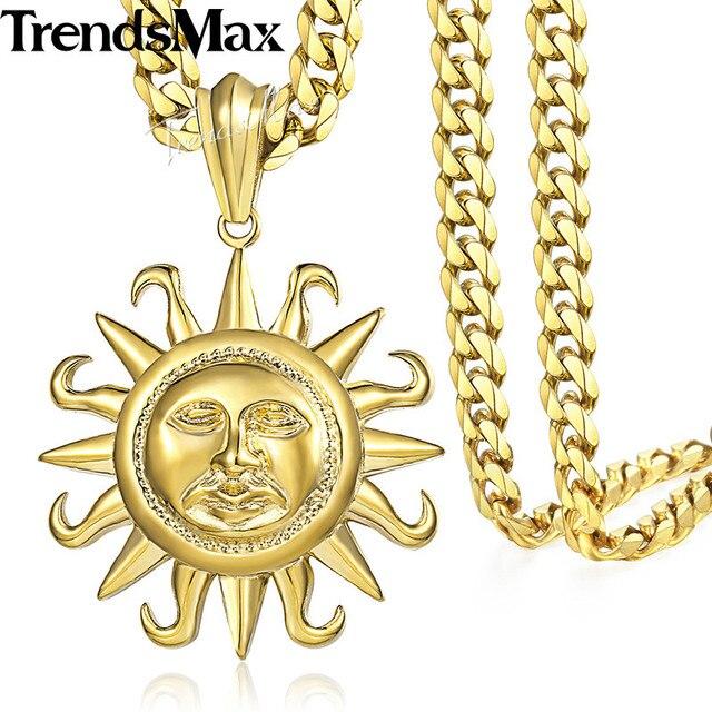 Trendsmax sun pendant necklace for men gold tone 316l stainless trendsmax sun pendant necklace for men gold tone 316l stainless steel chain mens jewelry gift hp102 aloadofball Gallery