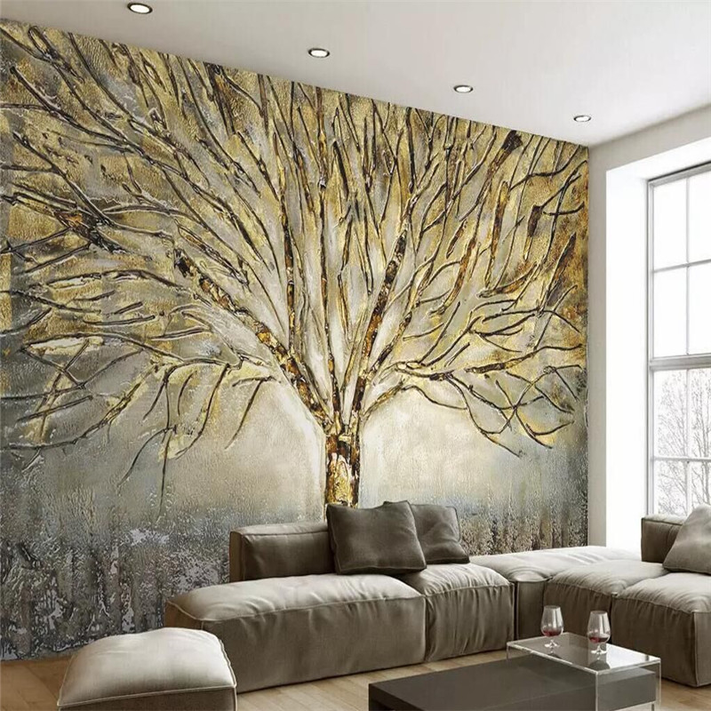 Metal embossed fashion a tree oil painting TV background wall custom high-end mural factory wholesale wallpaper mural photo wall free shipping large mural sofa tv background wall custom european style painting wallpaper tulip mural
