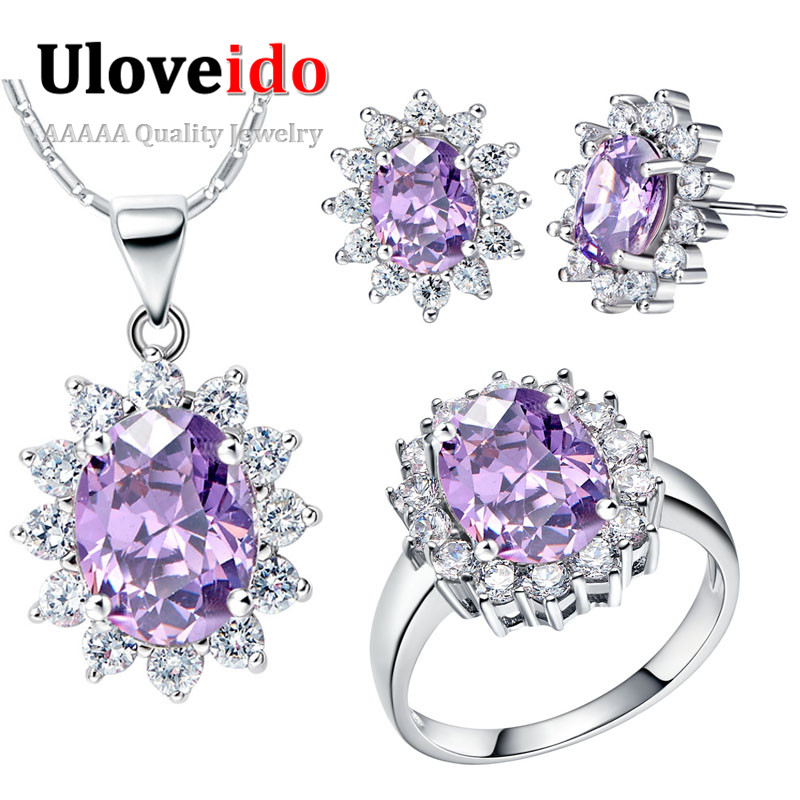 9f196b3266d Uloveido Cubic Zirconia Jewelry Set Purple Wedding Jewelry Sets Jewellery  Sets for Women Ring Earrings Necklace Set 40%off T466-in Bridal Jewelry Sets  from ...