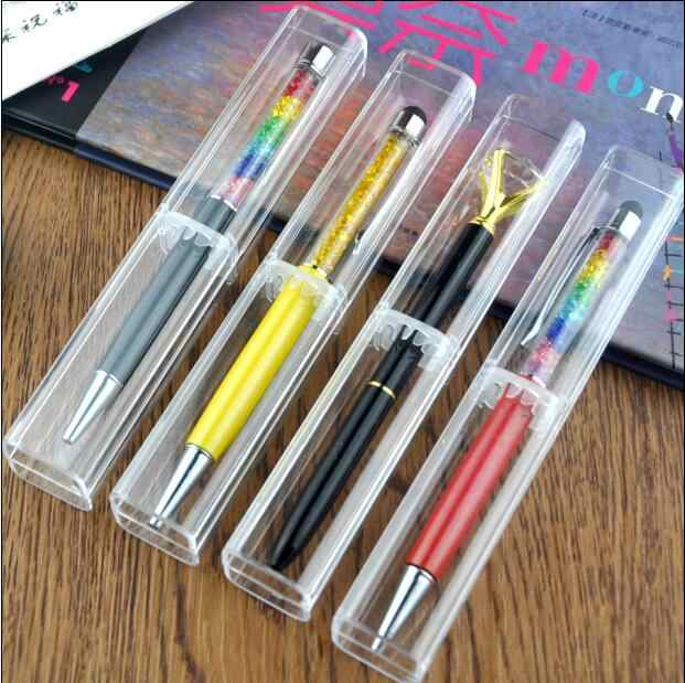 50pcs Fashion gift pen box clear crystal pen case Cosmetic Eyeshadow Pencil color Pen Lipstick ballpoint pen Display stand rack