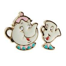 Alloy Enamel Lovely Cartoon Beauty And The Beast Earrings Cosplay Jewelry Famous Movie Cups Stud Earring Kids Ear Studs