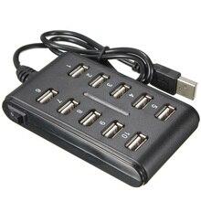 Высокая скорость 480 Мбит/с USB 2,0 концентратор 10 порты USB мульти персонального компьютера USB концентратор портативный USB разветвитель для портативных ПК#20