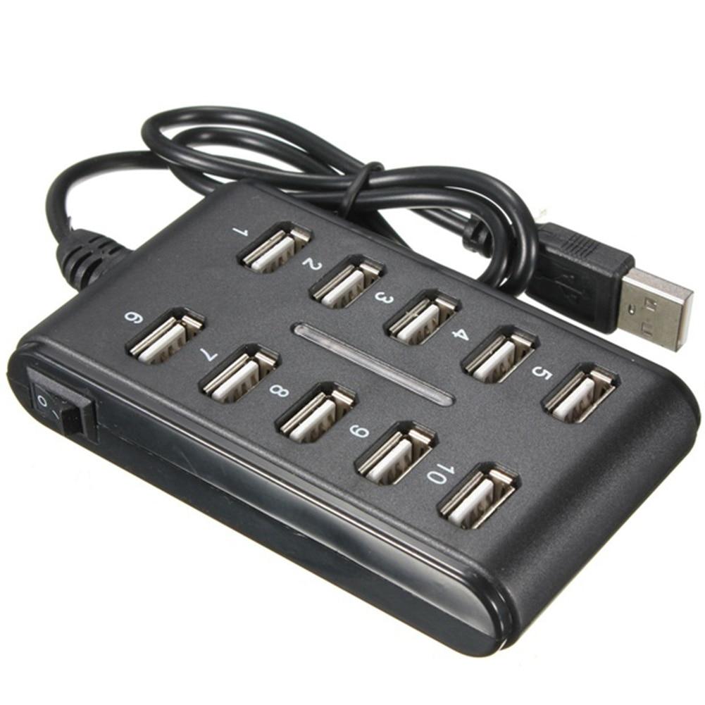 Haute vitesse 480 Mbps USB 2.0 Hub 10 Ports Multi ordinateur personnel USB HUB Portable USB séparateur pour PC ordinateur Portable #20
