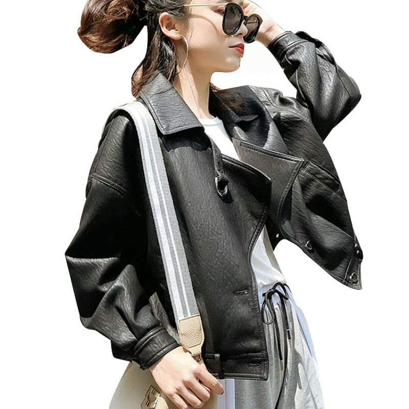 Autumn Winter Women Casual Loose Soft Faux   Leather   Jackets Lady Hip Hop Boyfriend PU Batwing Sleeve Coat Streetwear Outerwear