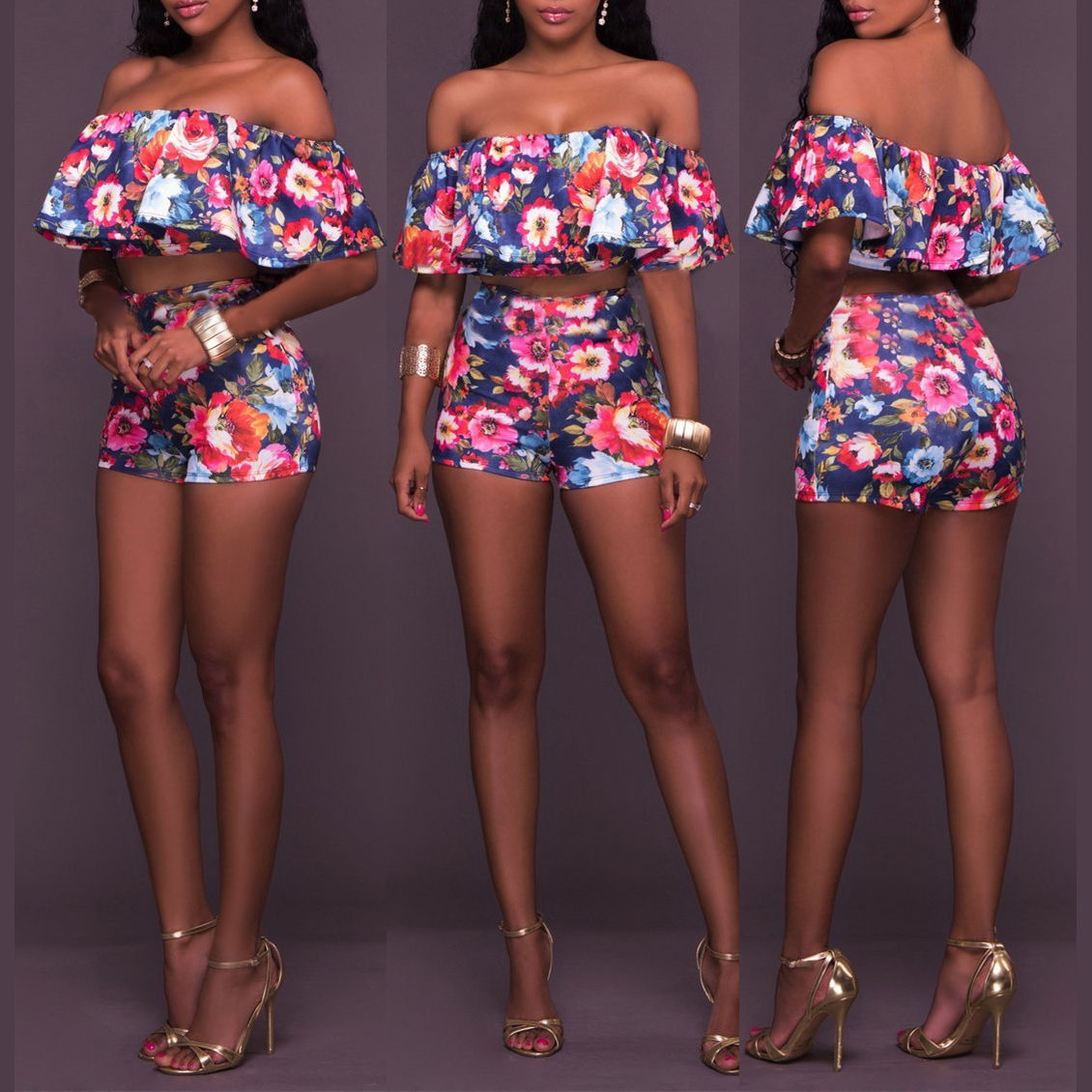 3d Ensemble Floral Pyjama Top Mignon Élastique Taille Crop Costume S L De Impression Pièces Fleurs 2 Femmes M Qualité Shorts Ensembles Meilleur IYqP1wx