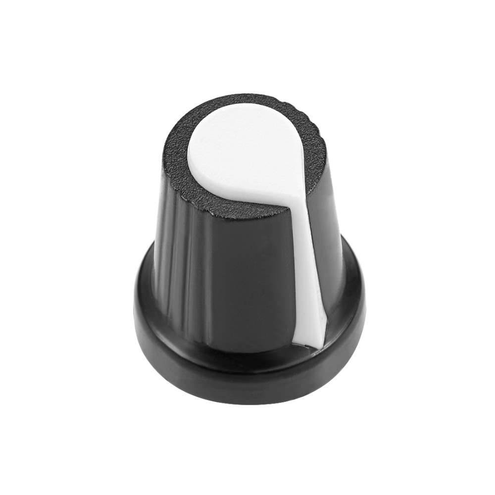 UXCELL 50Pcs 6mm Insert Shaft 15x17mm Plastic Potentiometer Rotary Knob Pots Black White For Audio Device Switches Accessories in Switches from Lights Lighting