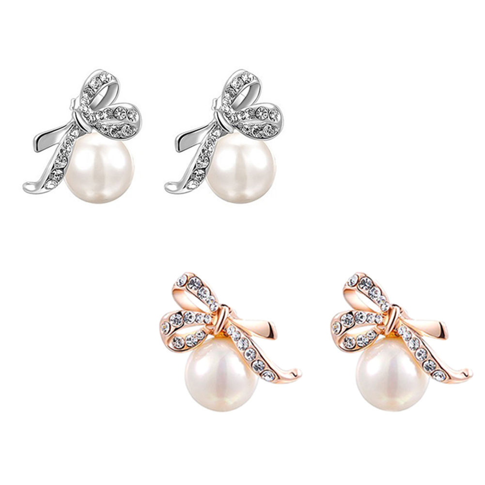 Romad Bow Pearl Drop Earrings Rose Gold color Rhinestone ...