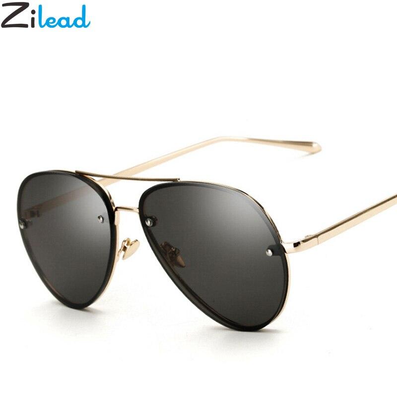 Zilead Designer Pilot Oval Sunglasses Women Sun Glass Aviation Metal Frame Mirror Driving Female Glasses