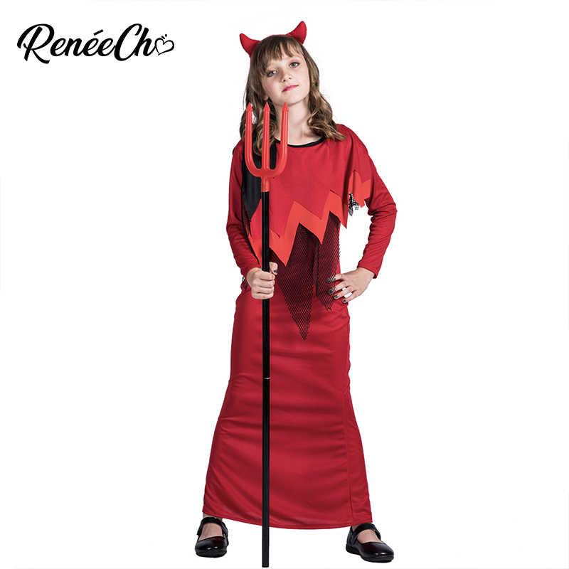 3d4ebefcc8d0423 2018 Новое поступление костюм для Хэллоуина для детей Длинные красное  платье аниме карнавальный костюм девочки костюм