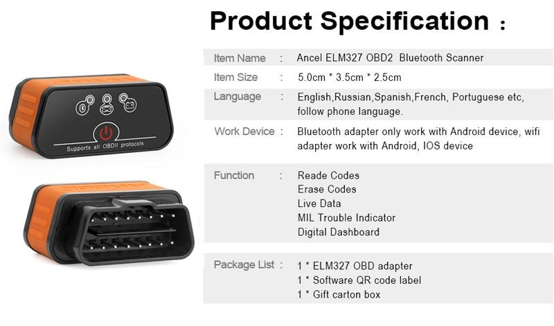 UTB8amQqkSbIXKJkSaefq6yasXXa3 Ancel icar2 OBD2 ELM327 V1.5 Android Bluetooth Adapter Automotive Scanner Car Diagnostic Tool Car Error Code Reader ODB2 ELM327