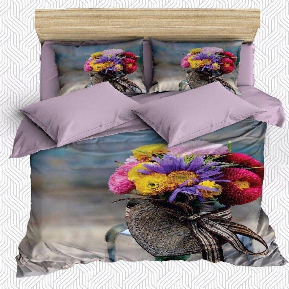 Autre 6 pièces violet rouge jaune rose fleurs côté mer impression 3D coton Satin Double housse de couette literie ensemble taie d'oreiller drap de lit