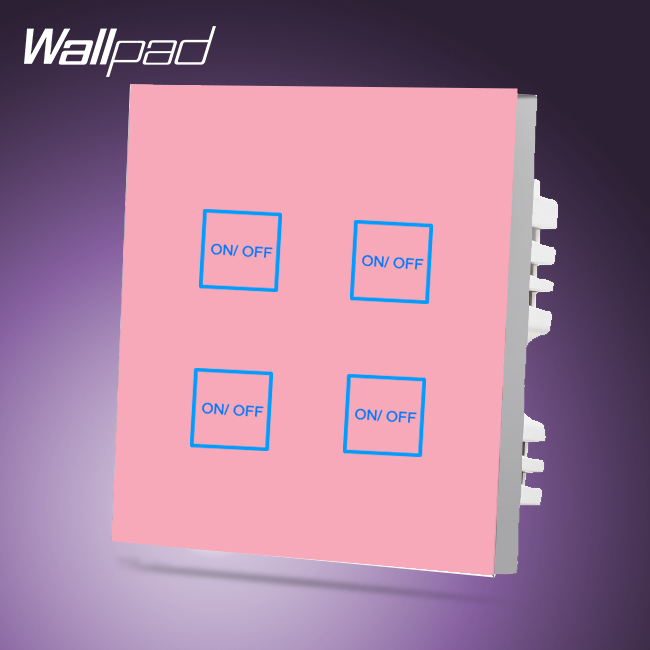 Hotel Wallpad UK 4 Gang 2 Way Waterproof Pink Glass LED Indicator Smart Wall Light Switch Touch Panel, Free Shipping high quality smart capacitive 2 way touch control wall panel light switch led backlight hot selling free shipping