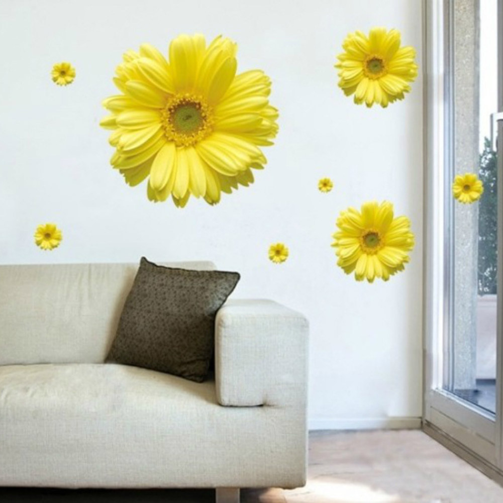 1/Set Yellow Flowers Decorative Combination DIY Wall Sticker Decor ...
