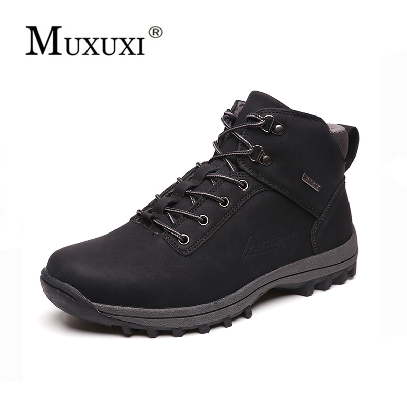 Autumn and Winter cow Leather plush Men Work keep warm winter boots lace up Mens Fashion Model Causal outdoor ankle snow boots