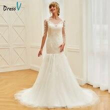 Dressv ivory long sleeves floor length wedding dresses