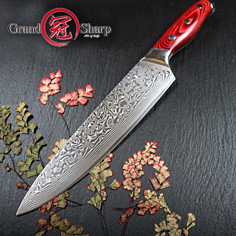 US $41.7 50% OFF|GRANDSHARP 67 Layers Japanese Damascus Knife Damascus Chef  Knife 8 Inch VG 10 Blade Damascus Kitchen Knife Pakka Handle PRO-in ...