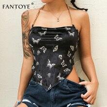Fantoye Sexy Backless aksamitne damskie topy nadruk z motylem Halter metalowy łańcuszek asymetryczny krótki Top Hot Streetwear czarny bezrękawnik