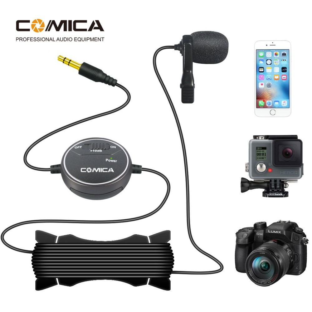 Comica V03 Lavalier Lapel Microphone Clip-on Omnidirectional Condenser Interview Microphone For IPhone Smartphone DSLR Cameras
