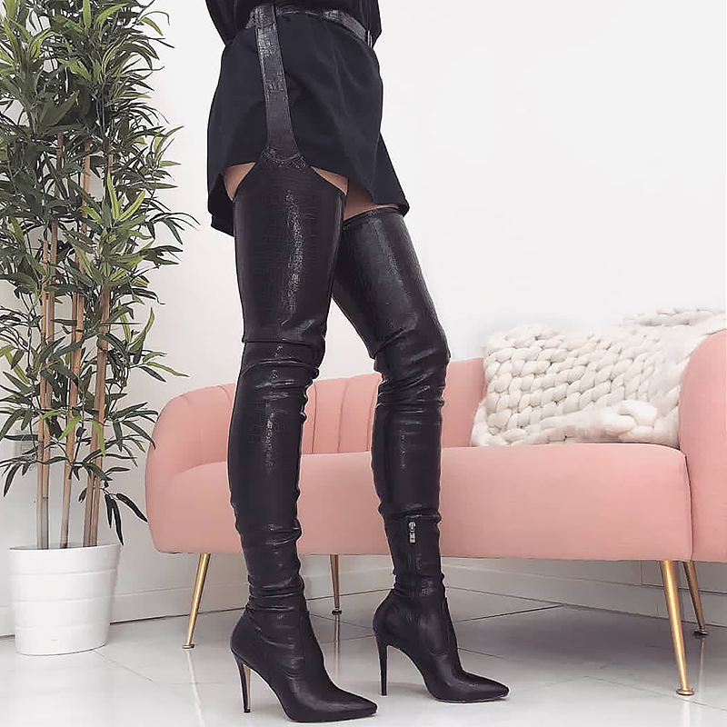 Perixir PU Women High Heels Long Thigh High Boots Rihanna Style Over the Knee Boots for Women Shoes Pointed Toe Pleated Solid stylish solid color lightweight pleated scarf for women