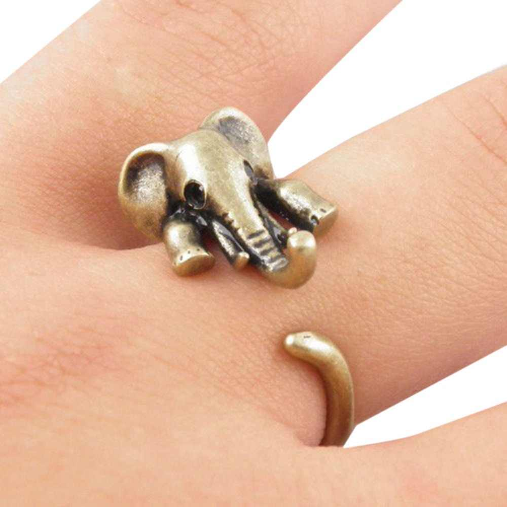 New Vintage Boho Chic Mid Finger Elephant Ring Cute Couple Opened Animal Wedding Rings Fine Jewelry