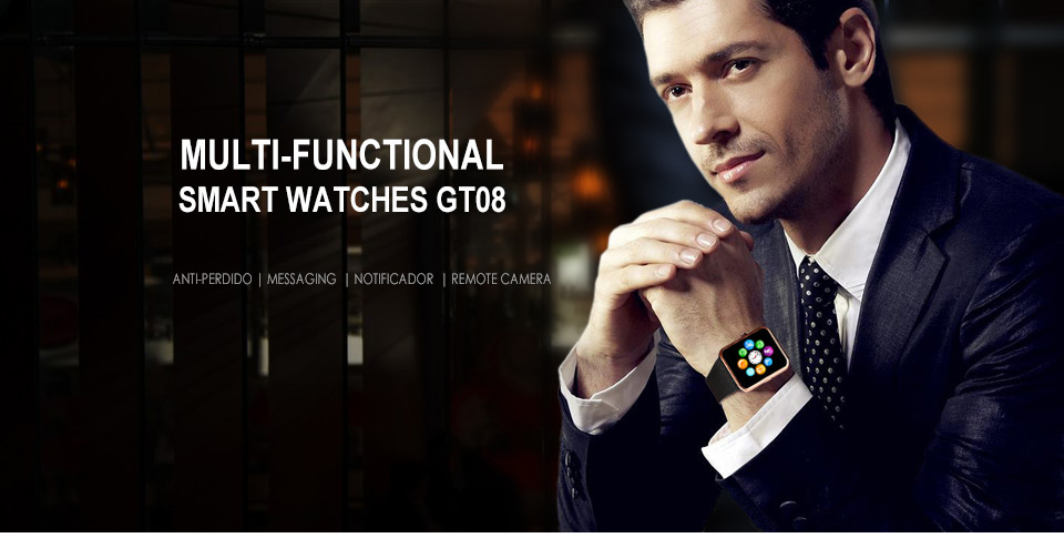GT08 Metal Strap Bluetooth Wrist Smartwatch Support Sim TF Card Android&IOS Watch gold x1 16