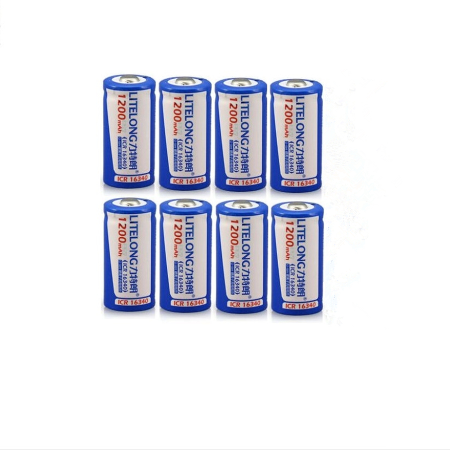 8PCS High Power 3 7V 1200mAh CR 123 16340 Rechargeable Battery Protected Lithium Ion Rechargeable Lithium