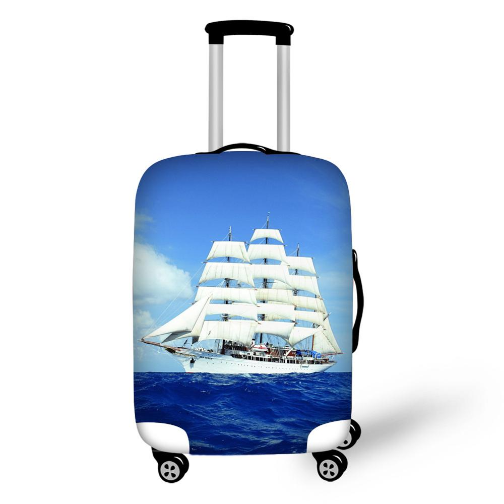 Sea Ship Sailboat Print Travel Accessories Suitcase Protective Covers 18-32 Inch Spandex Luggage Dust Cover Case Stretchable