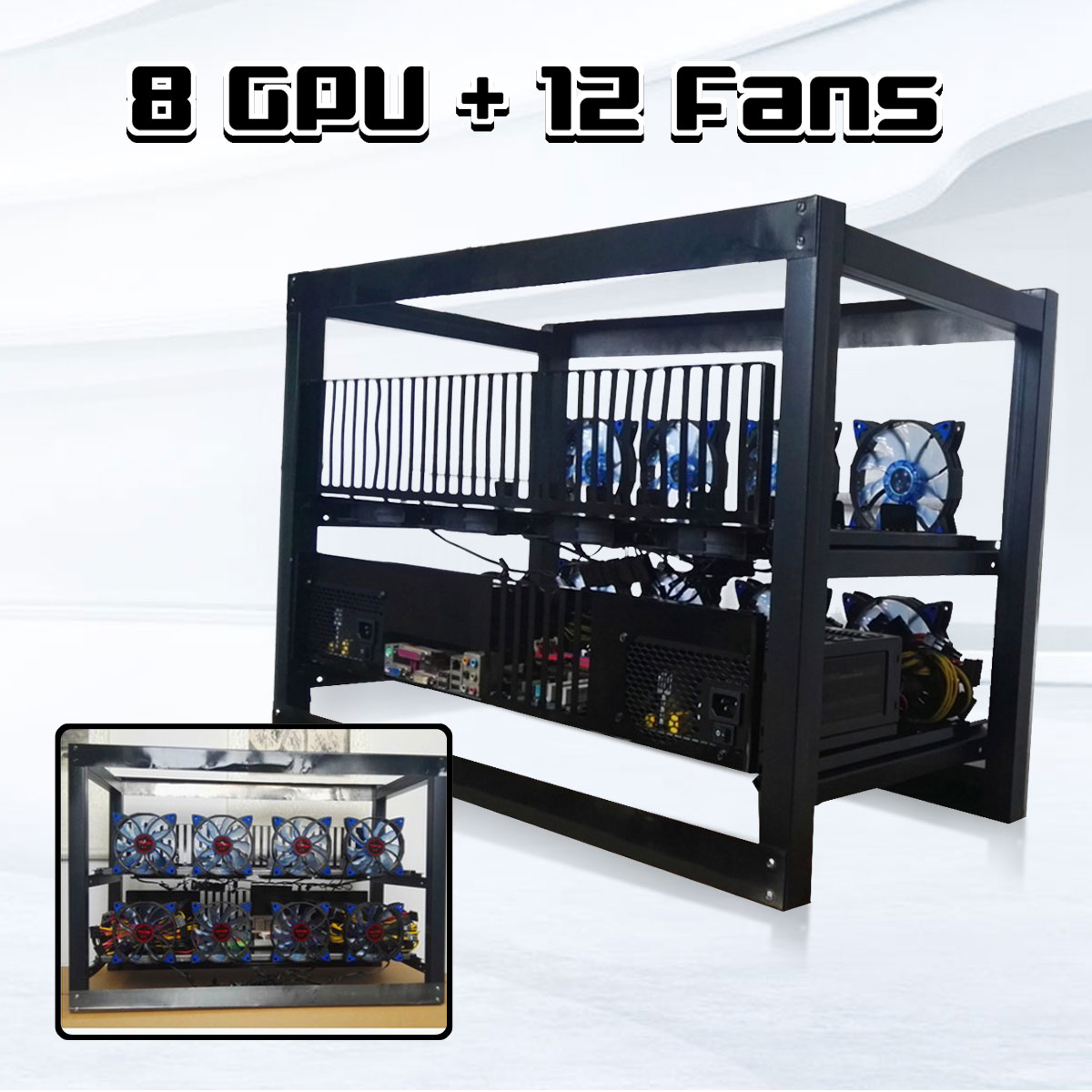 8 GPU Crypto Coin Open Air Aluminum Frame Case Mining Miner Frame Rig Stackable Case With 12 Fan Outdoor Frame ETH/ZEC/BTH