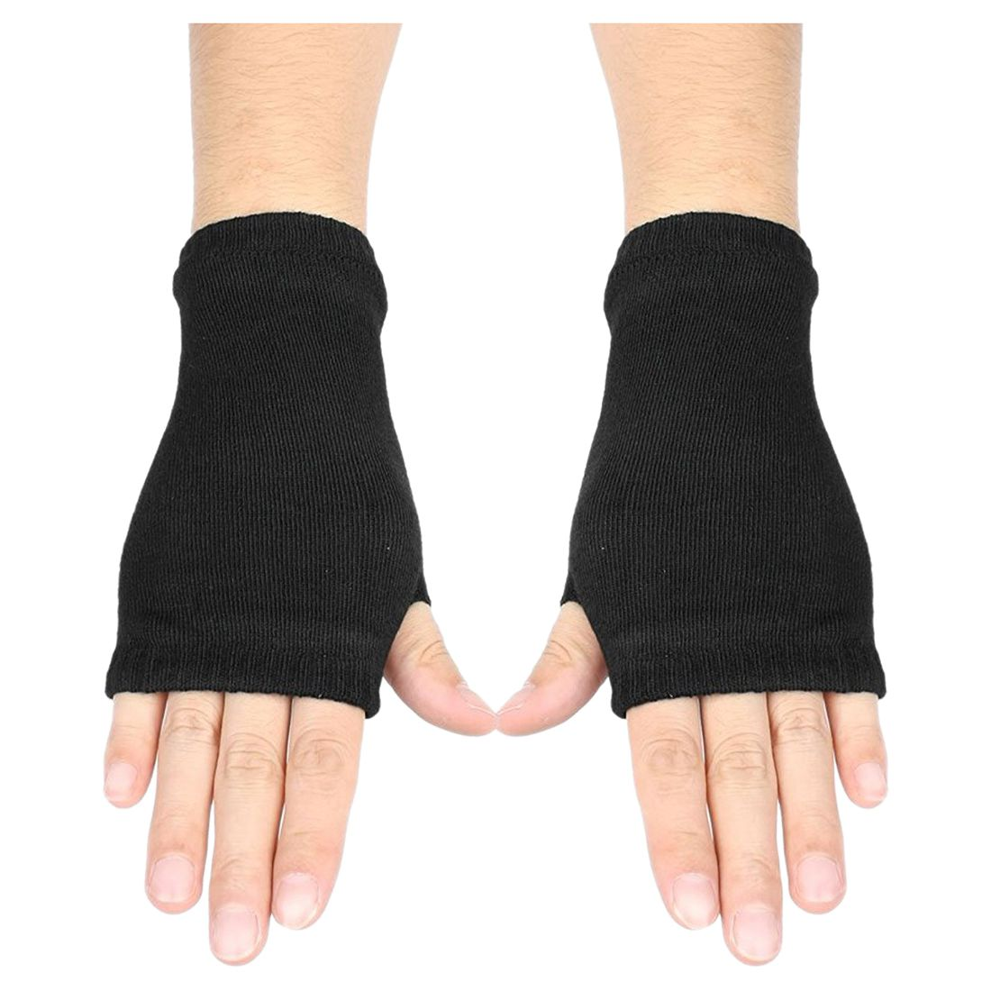 Black Elastic Combed Cotton Fingerless Gloves For Women