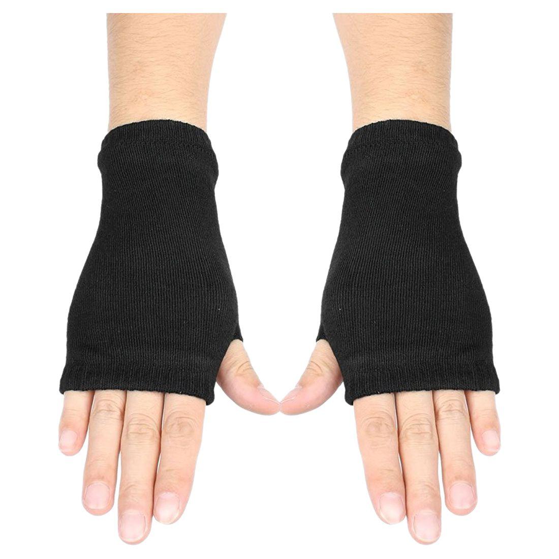 Black Elastic Combed Cotton Fingerless Gloves For Women