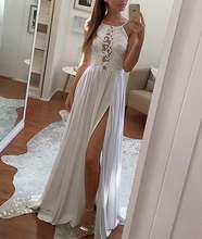 Простые белые свадебные платья кружевные с разрезом
