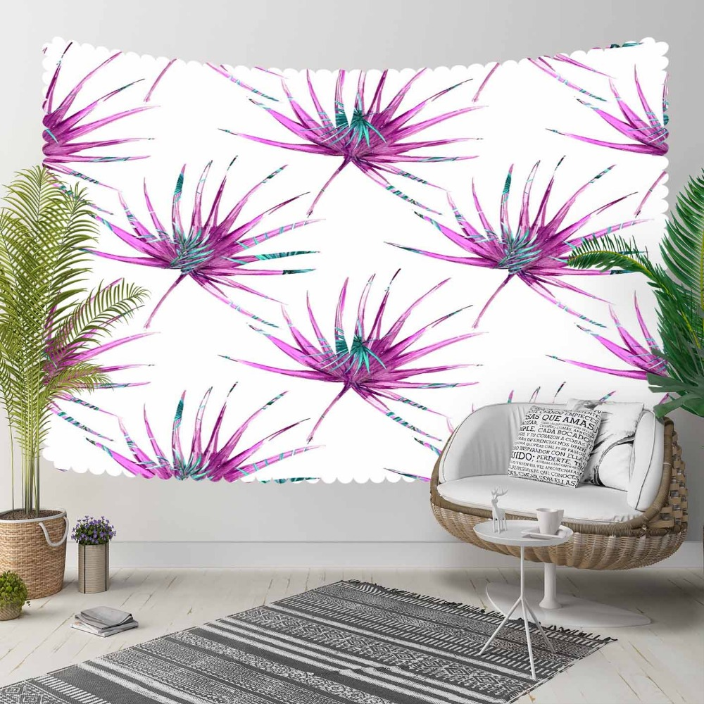 Else Tropical Flowers Floral Purple Green Leaves 3D Print Decorative Hippi Bohemian Wall Hanging Landscape Tapestry Wall Art