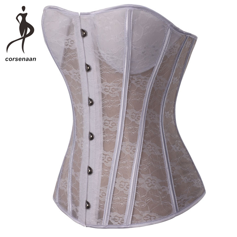 Padded Corset Costumes Bustier Lace Transparent Waist-Shaper Bridal-Lingeire Steel Sexy