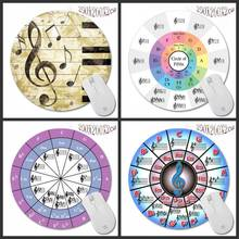 Piano music symbol color rubber anti skid computer laptop round game mouse pad Persian carpet coaster