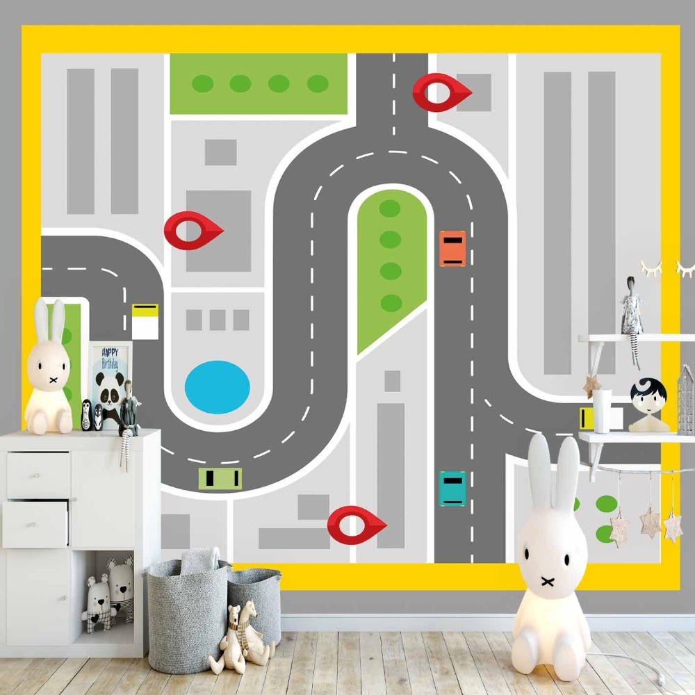 Else Yellow Frame Play Car Racing Road Game Boy 3d Print Cartoon Cleanable Fabric Mural Kids Children Room Background Wallpaper