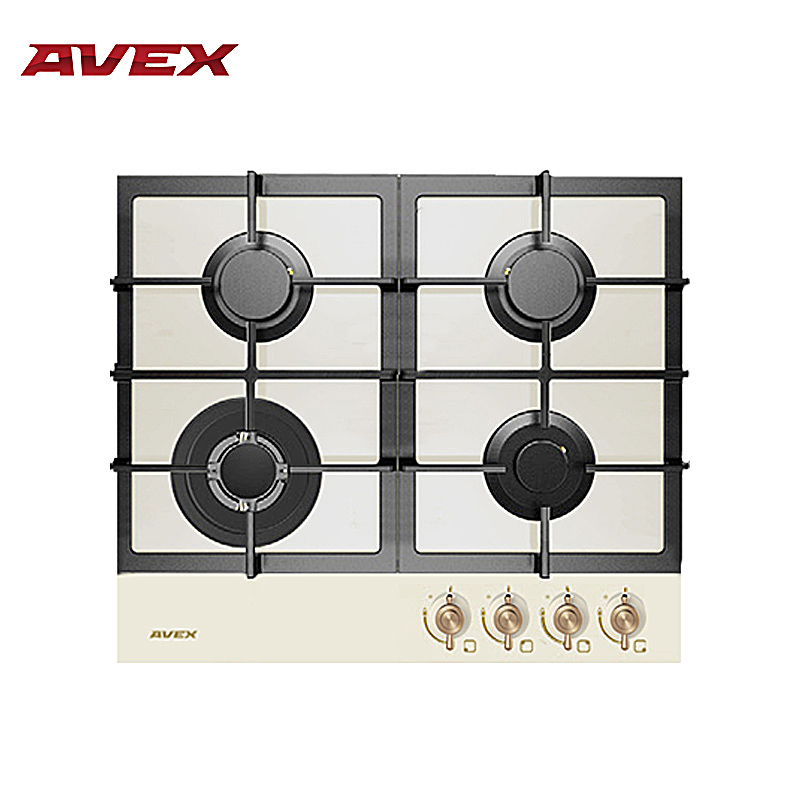 Built in Hob gas on glass with cast iron grilles AVEX HM 6044 RY, with FFD with 10