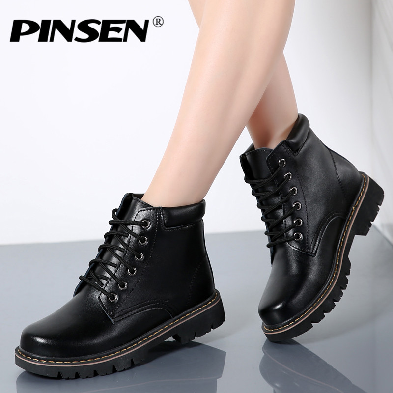 PINSEN 2018 Women Martin Boots Warm Winter Shoes Botas Feminina female Fashion Motorcycle Leather Ankle Boots Women Botas mujer vtota boots women fashion autumn martin boots warm women shoes ankle boots for women winter botas mujer wedges ankle boots d23