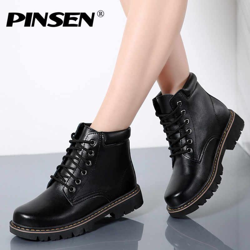 PINSEN 2020 moda kadın çizmeler sıcak kış ayakkabı Botas Feminina kadın moda motosiklet deri yarım çizmeler Botas mujer