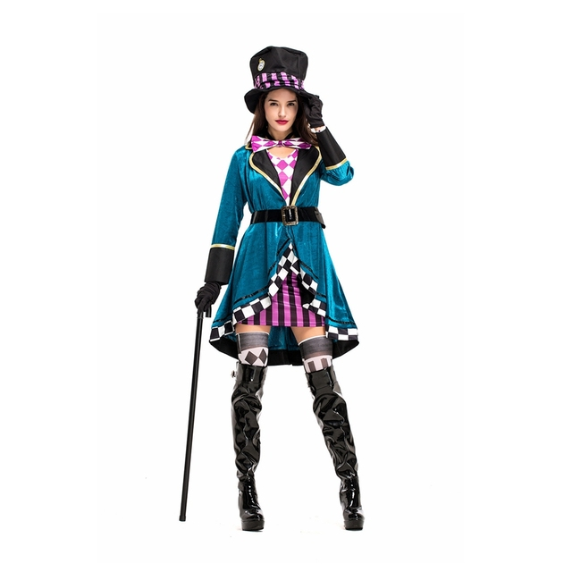 Coslive Alice In Wonderland Mad Hatter Costume Halloween Circus Clown Princess Maid Dress Cosplay Costume Carnival Performance