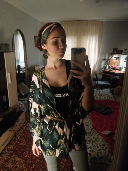 Multicolor Tropical Jungle Leaf Print Batwing Sleeve Kimono Women Summer Sleeve Vacation Longline Beach Blouses photo review