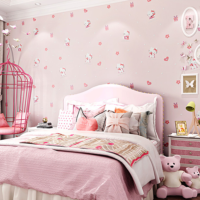 Cute Hello Kitty Kids Room Wallpaper Lovely Cartoon Cat Children Baby Bedroom Wall Papers Pink Blue Wallpapers Qz039