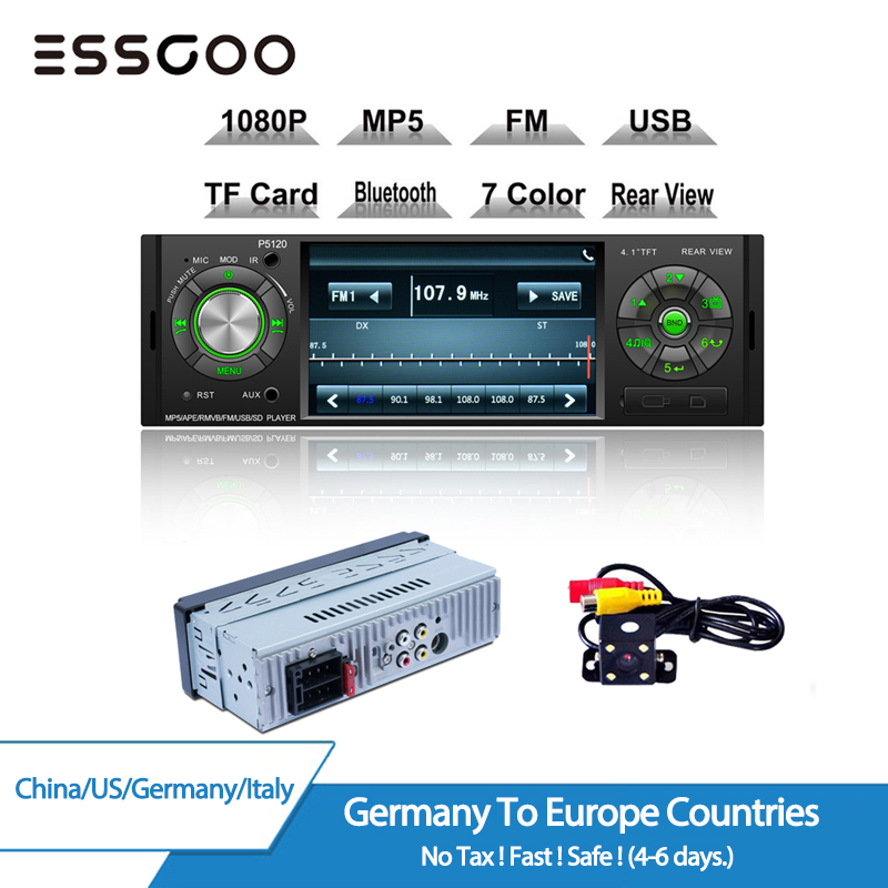 "1DIN Car Stereo Radio MP5 Player 1080P 4.1/"" Bluetooth 1Din USB AUX FM Camera"
