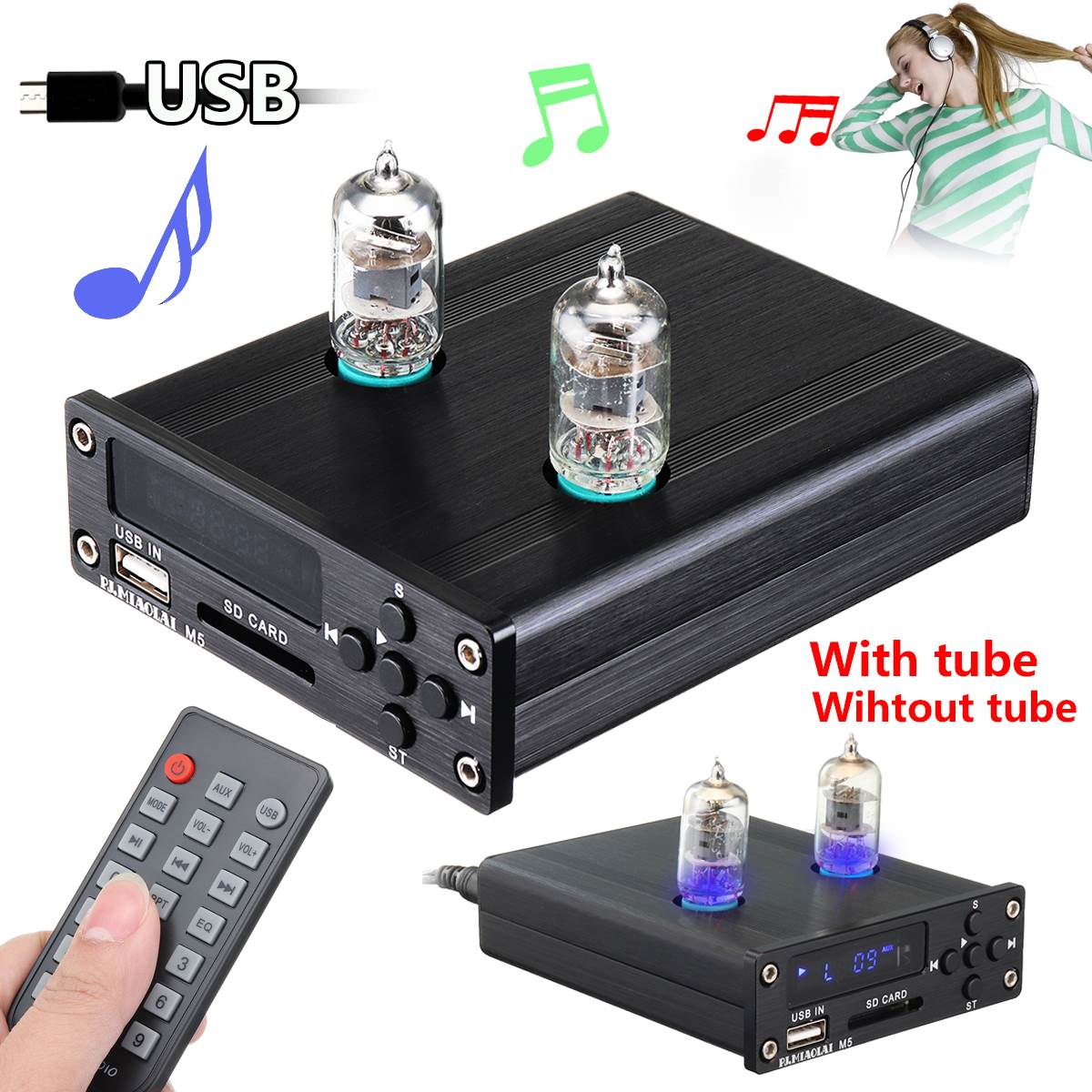 6J1 Vacuum Tube Pre-Amplifier Stereo Preamp USB DAC HiFi Lossless Music Player Durable Quality music hall xiangsheng dac 01a xmos u8 usb dac tube stereo d a converter headphone amplifier