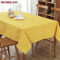 High Quality Tablecloth Solid Color Lattice Pattern European Table Cover Multi Functional Cotton Line Dinner Table