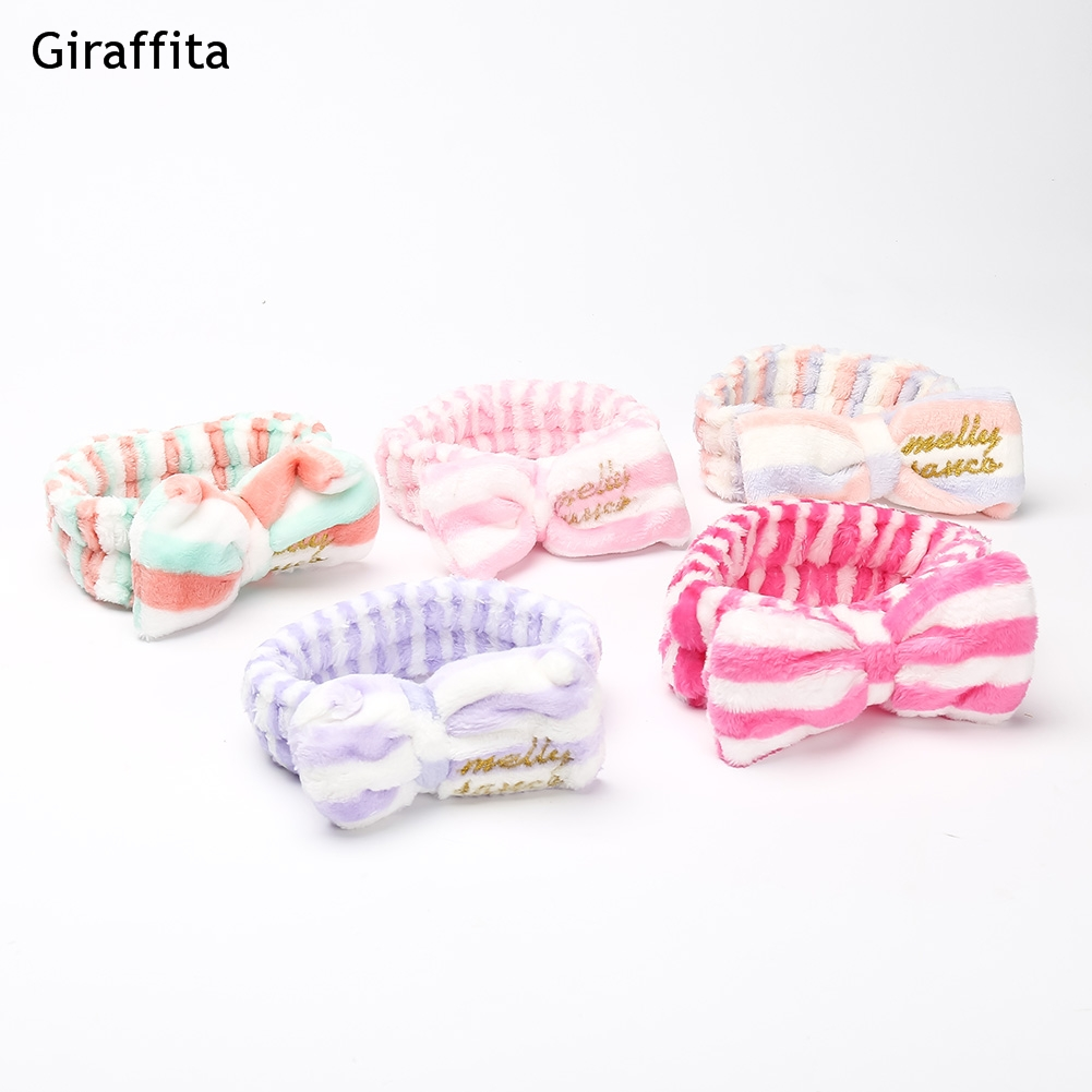 Hot Sale Cute Big Bow Headband Hair Makeup Wash Face With A Hair Band Movement Flannel Bundle Hair Accessories Headbands