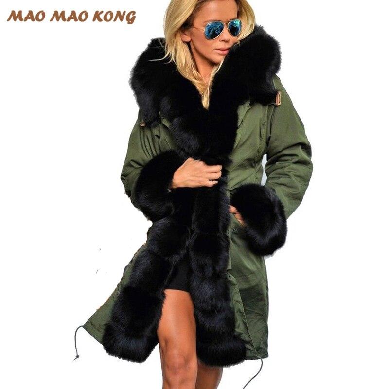 2018 Новая модная женская большая лисий мех с капюшоном пальто парки верхняя одежда длинная съемная меховая подкладка зимняя куртка брендовы...